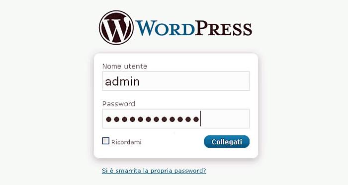 accesso wordpress