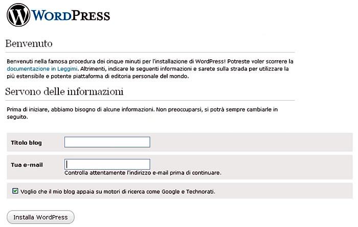 avvio wordpress